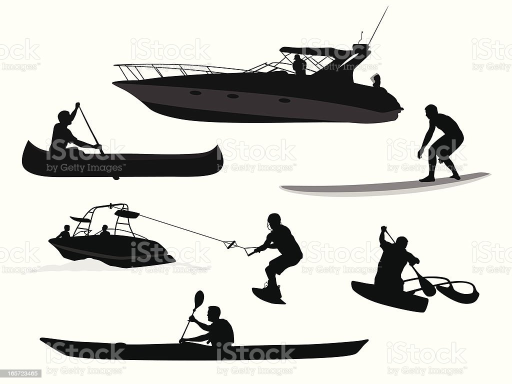 Paddles'n Waves Vector Silhouette vector art illustration