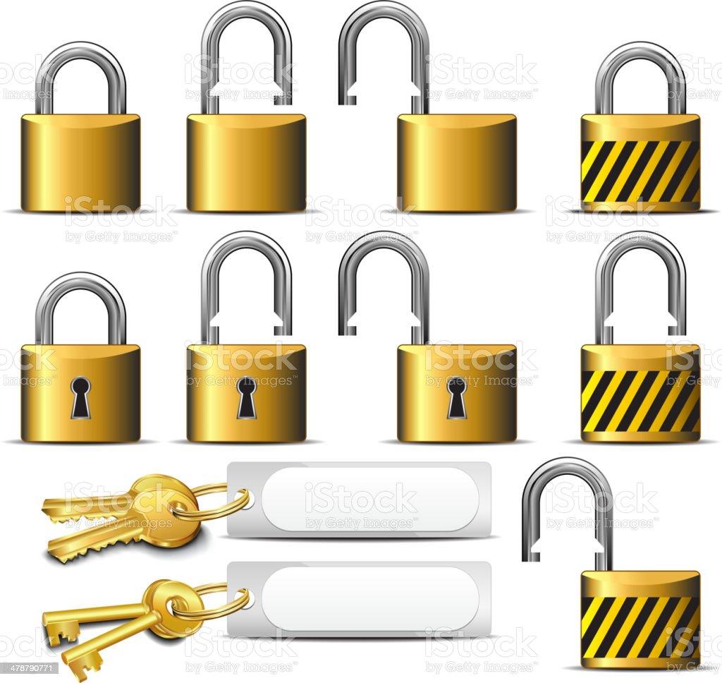 LOCK - Padlock and Key - Padlocks and Keys in Brass Steel vector art illustration
