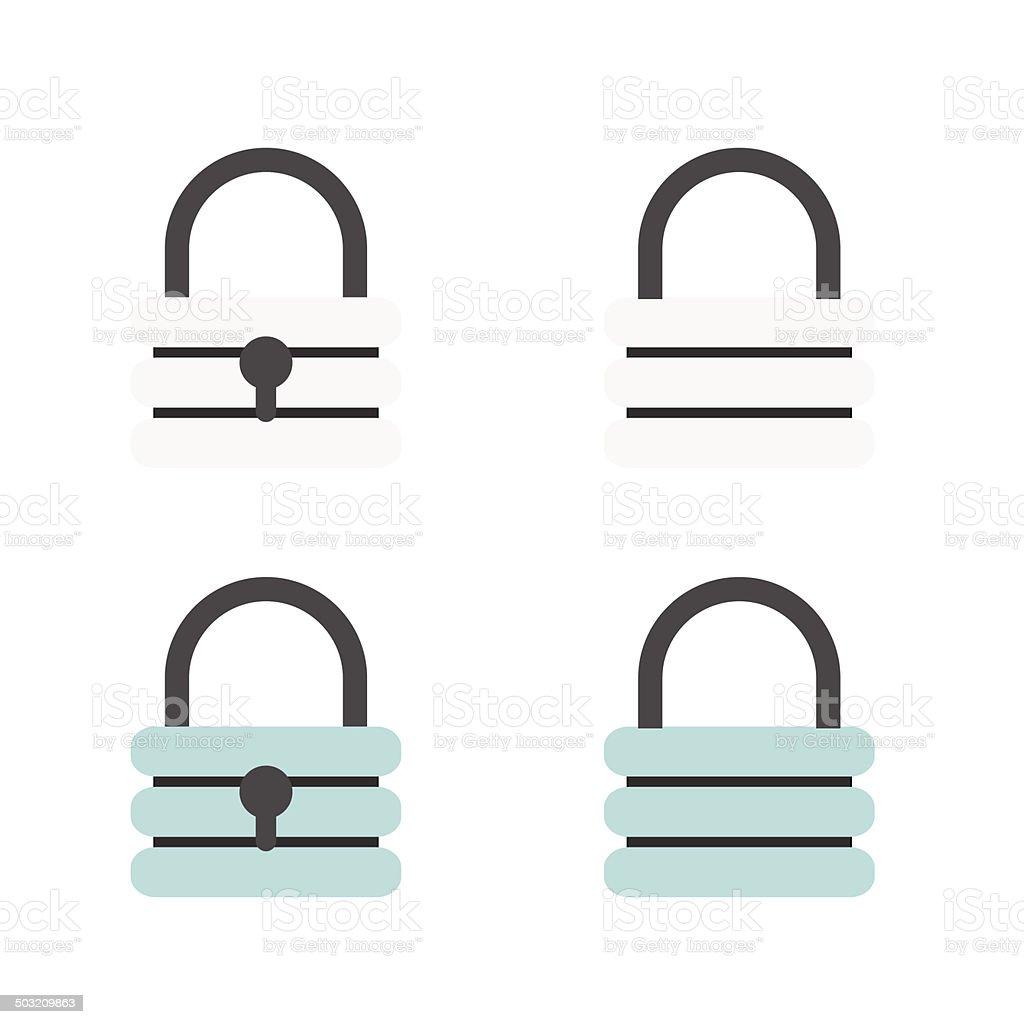 Padlock flat icons royalty-free stock vector art