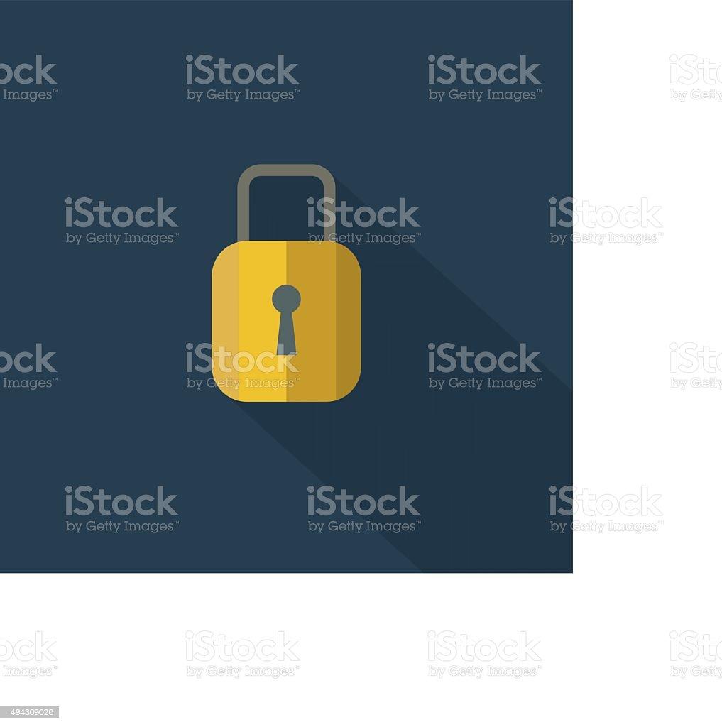 Padlock icon , Flat design style, vector illustration. long shad vector art illustration