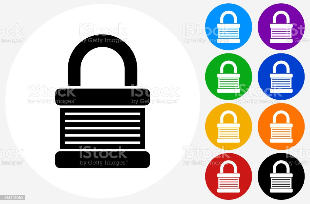 Padlock Icon on Flat Color Circle Buttons vector art illustration