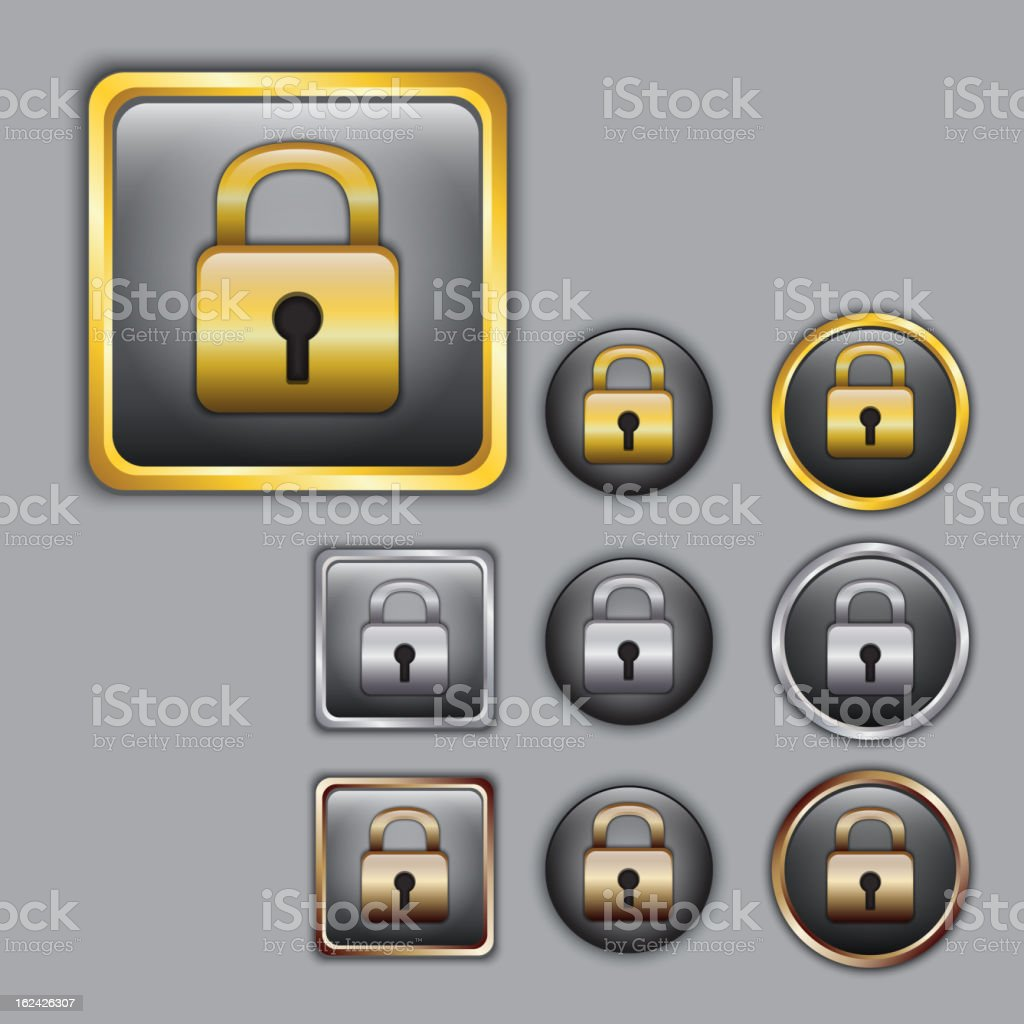 Padlock icons in different color royalty-free stock vector art