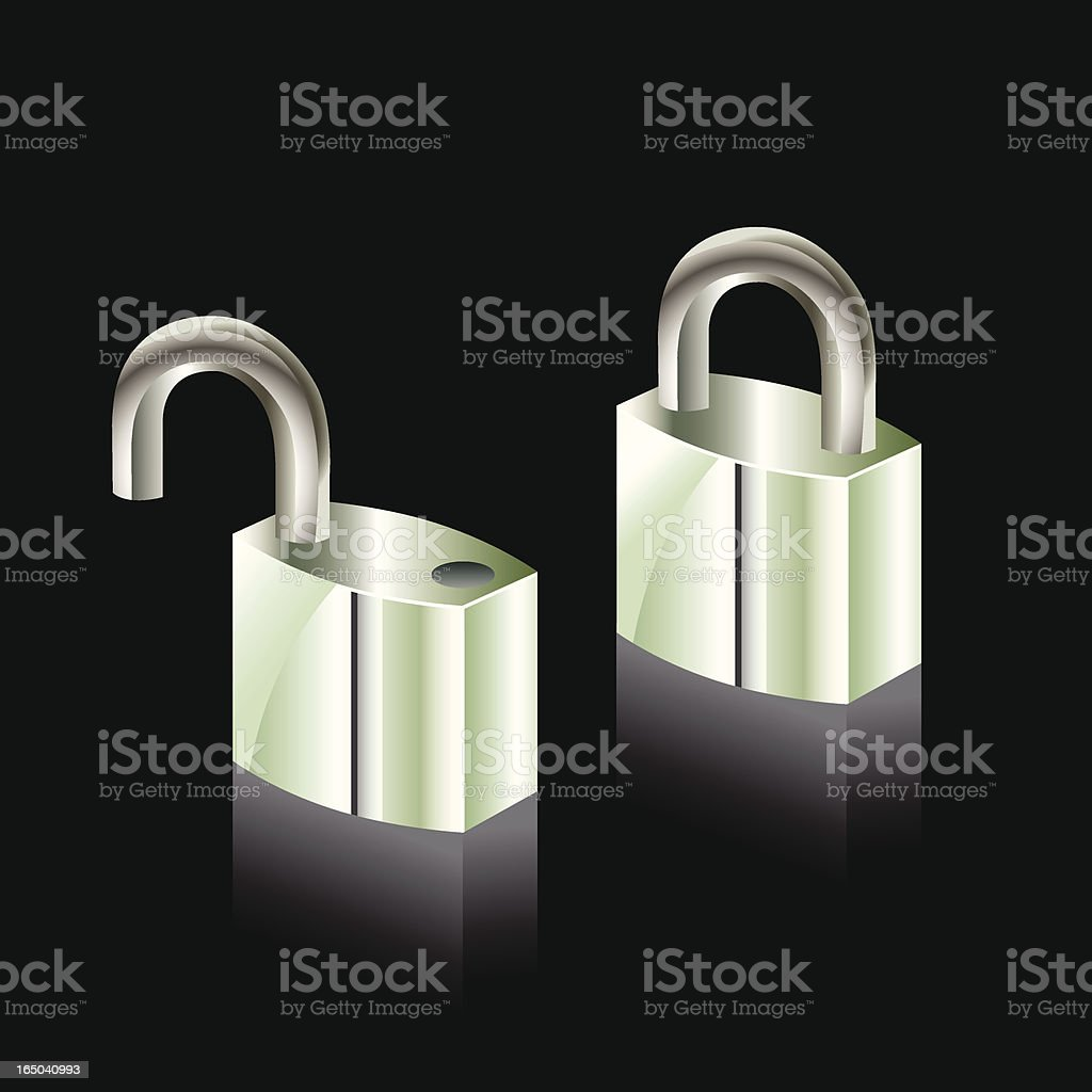 Padlock - open & locked royalty-free stock vector art