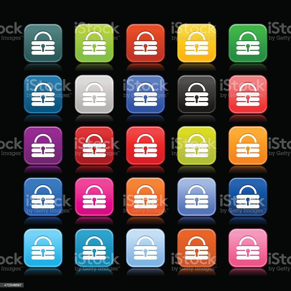 Padlock sign rounded square icon web button vector art illustration