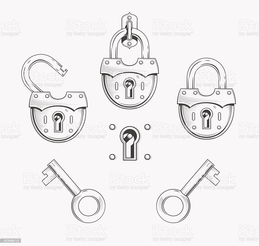 Kłódka z kluczem stockowa ilustracja wektorowa royalty-free
