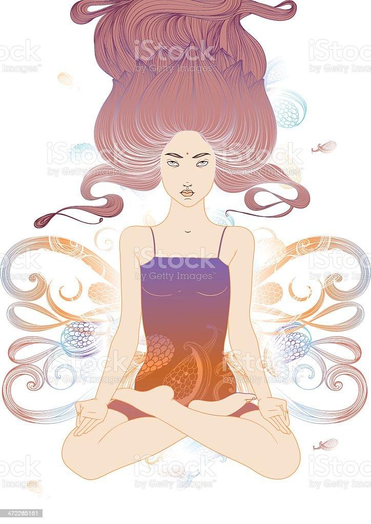 Padmasana vector art illustration