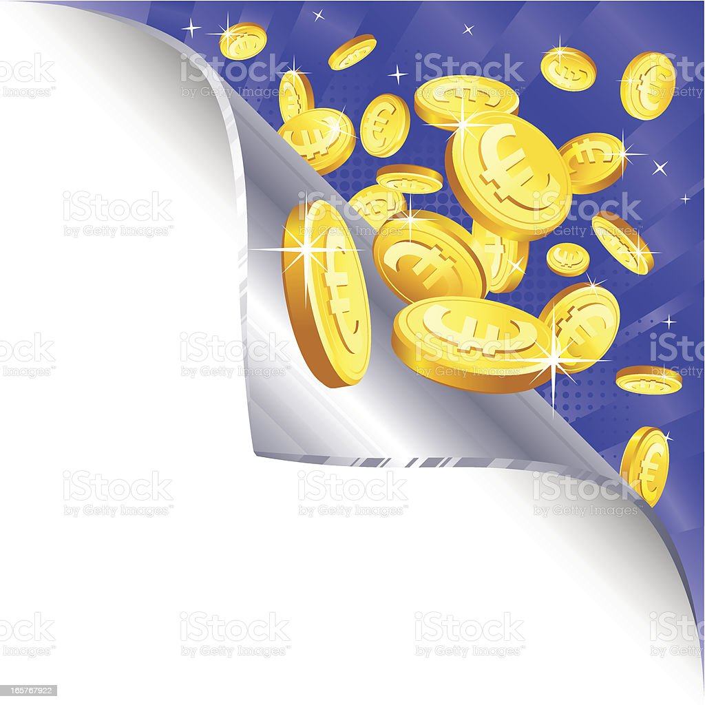Page Curl - gold euro coins royalty-free stock vector art
