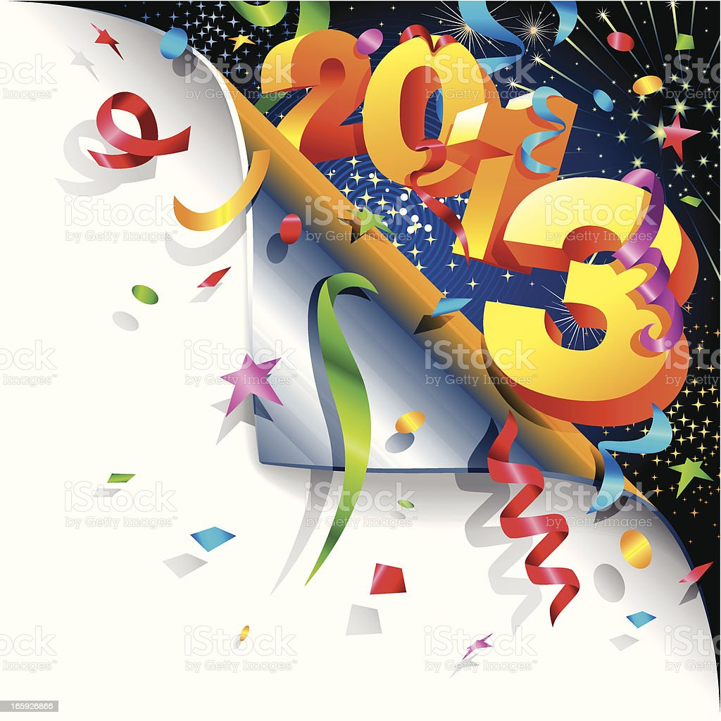 Page Curl - Happy New 2013 Year royalty-free stock vector art