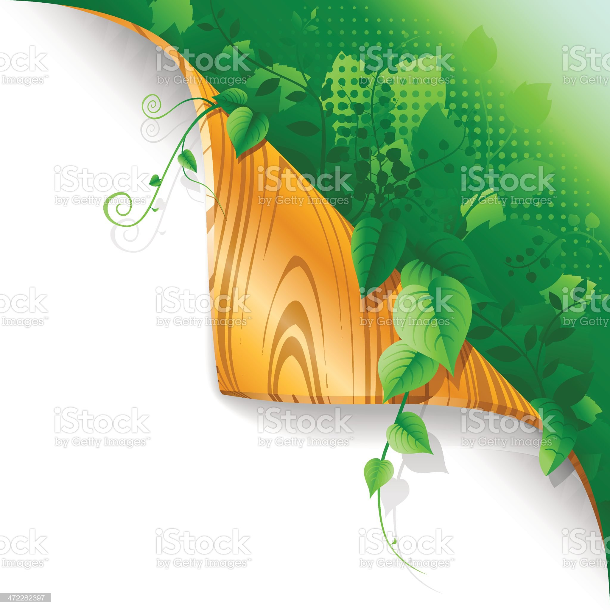 Page Curl - Lush Plants royalty-free stock vector art
