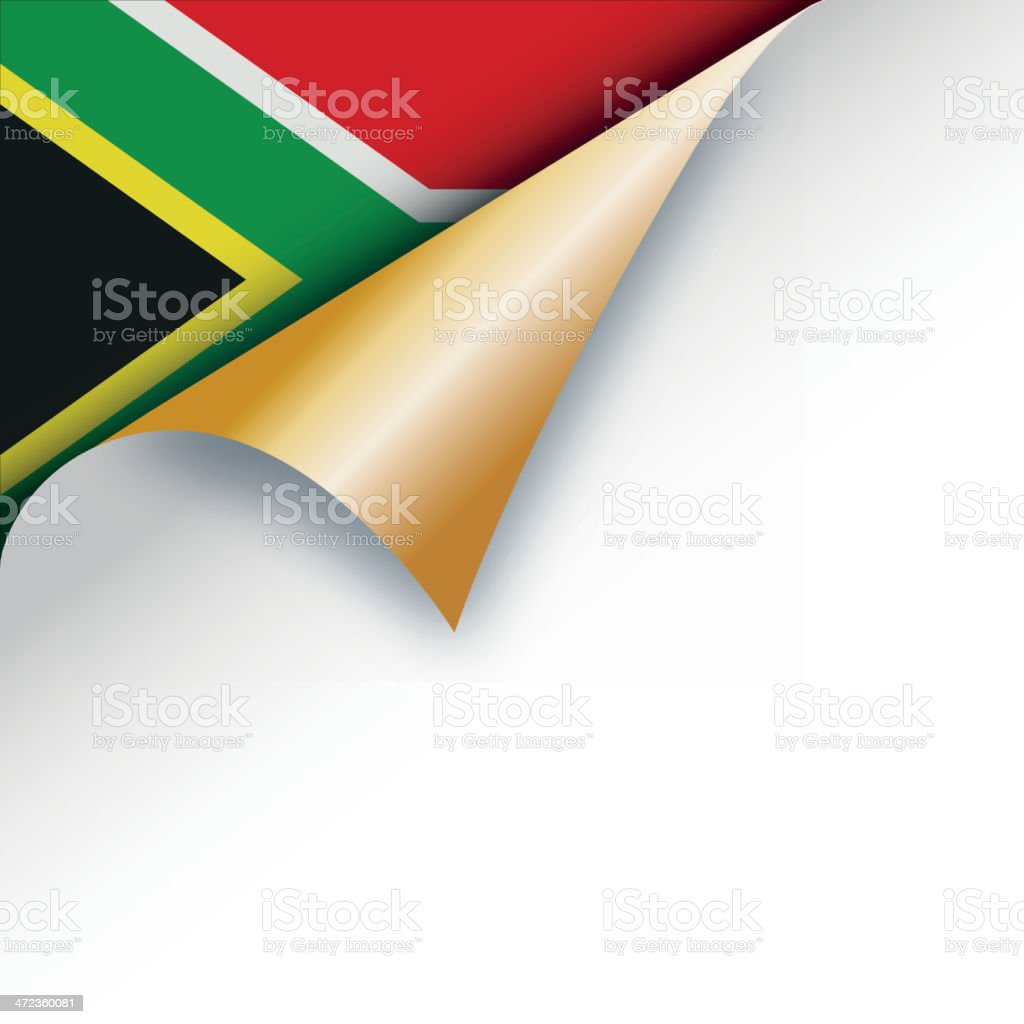 Page curl revealing South africa flag vector art illustration