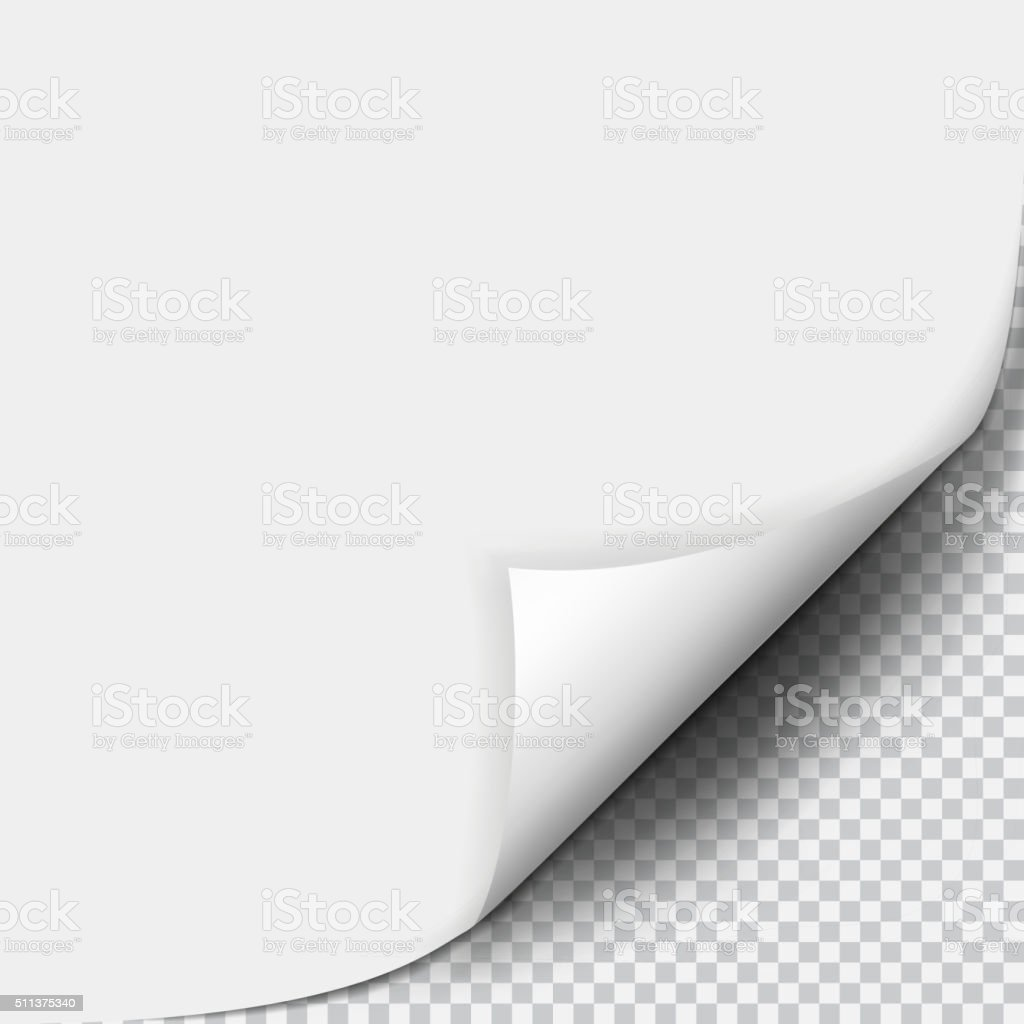 Page curl with shadow on blank sheet of paper vector art illustration