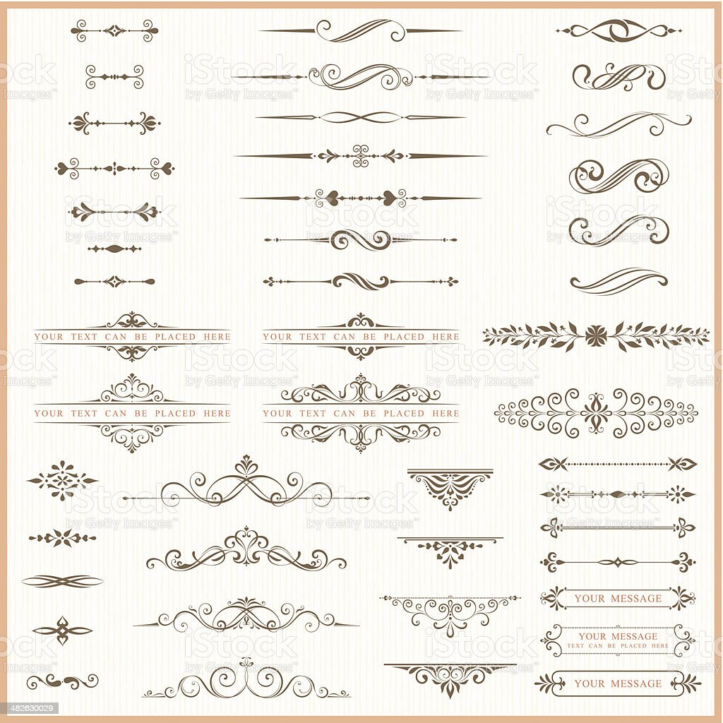 Page dividers and ornate elements vector art illustration