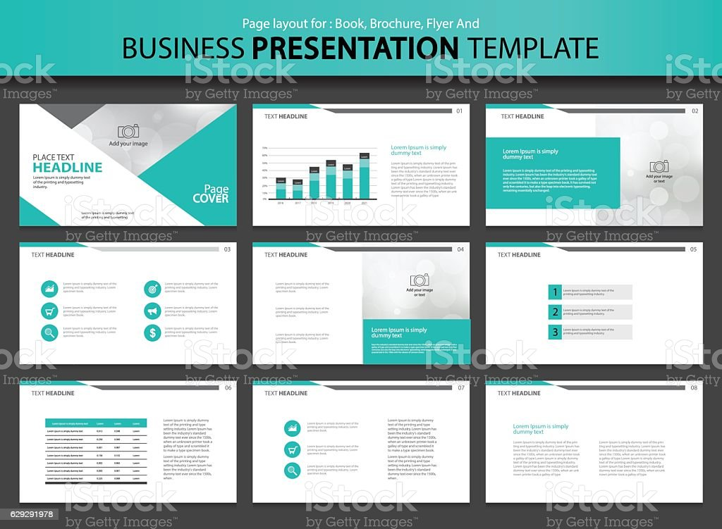 Page layout design template for business presentation vector art illustration