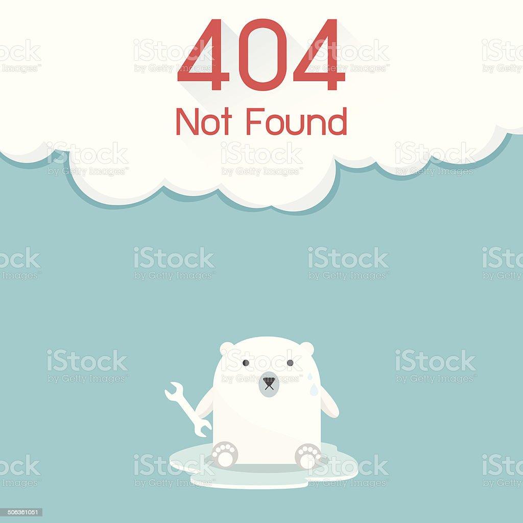 Page not found Error 404. Polar Bear Concept vector art illustration