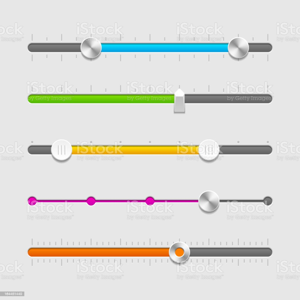 A page of different colored sliders shown of UI vector art illustration