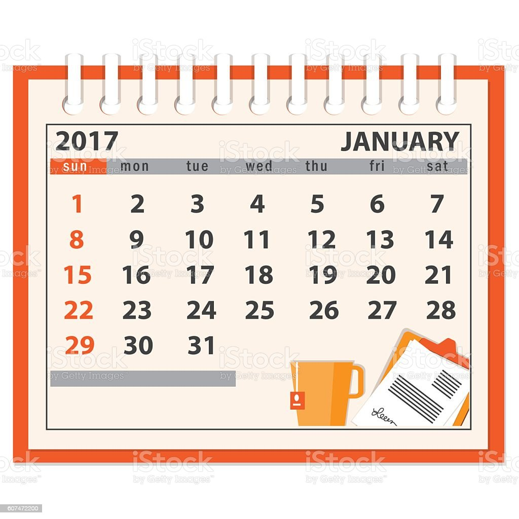 page of january 2017 vector art illustration