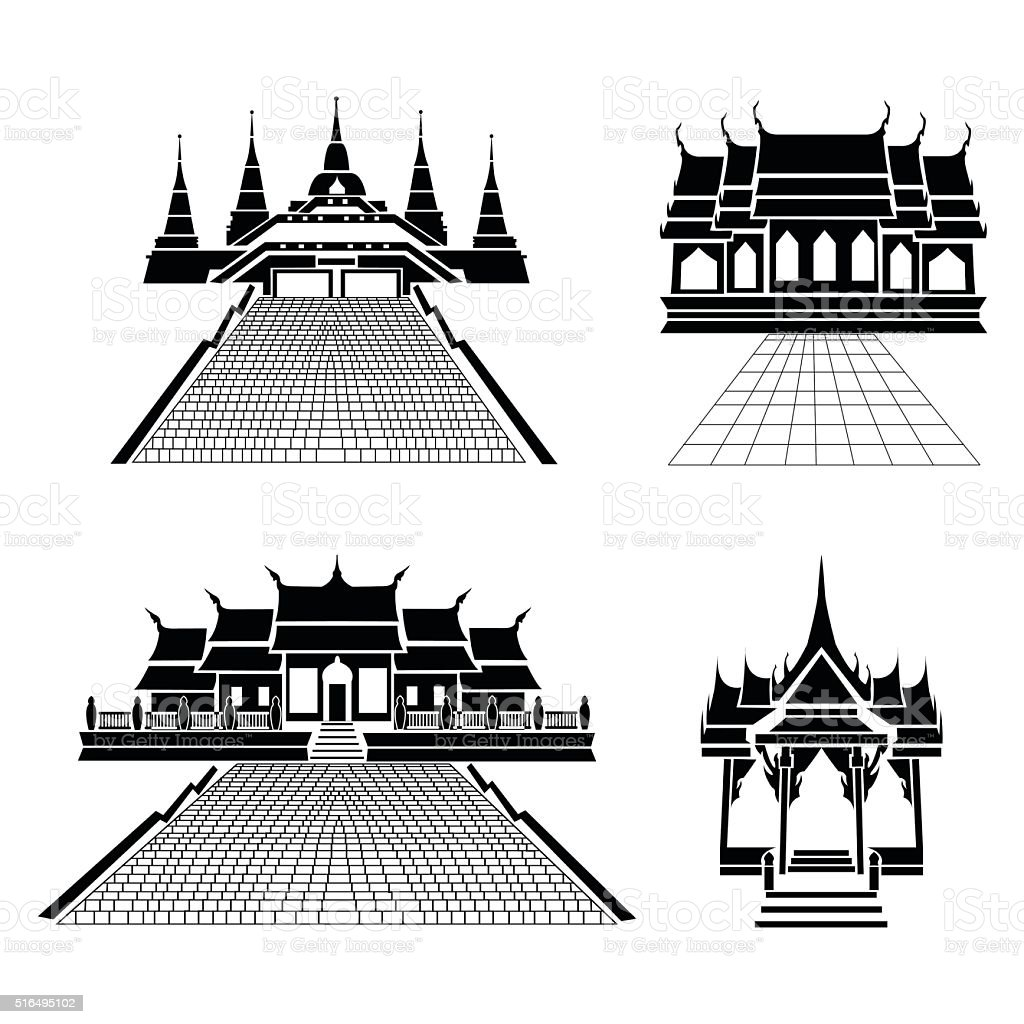 Pagoda and temple silhouette black icon vector art illustration
