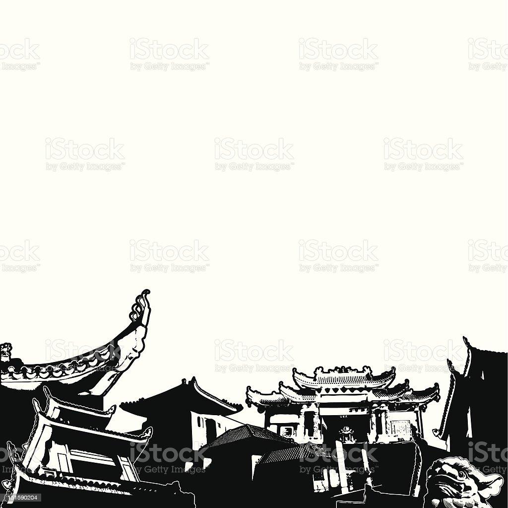 pagoda scene vector art illustration