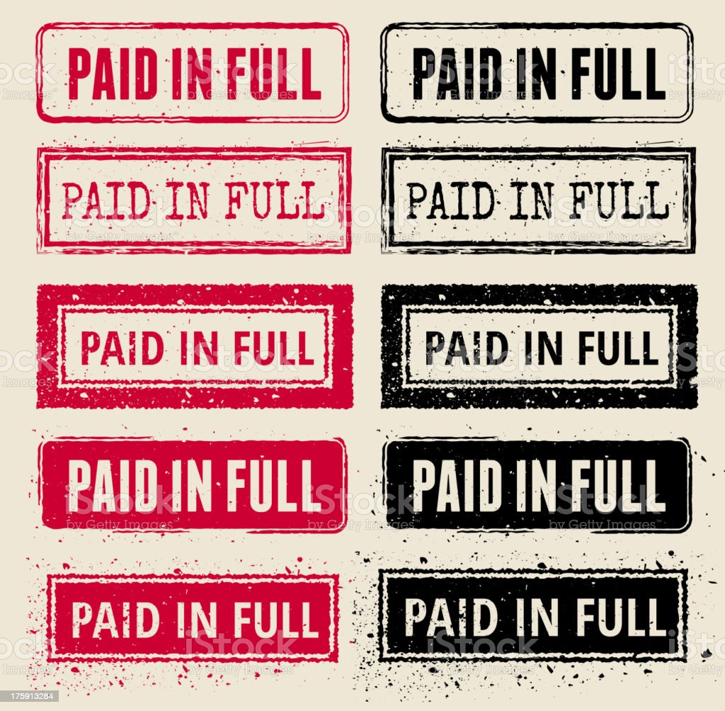 Paid in Full Vector Rubber Stamp Collections royalty-free stock vector art