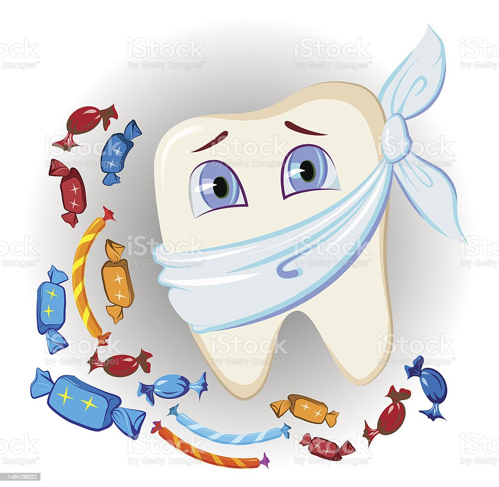 painful tooth and sweets vector art illustration
