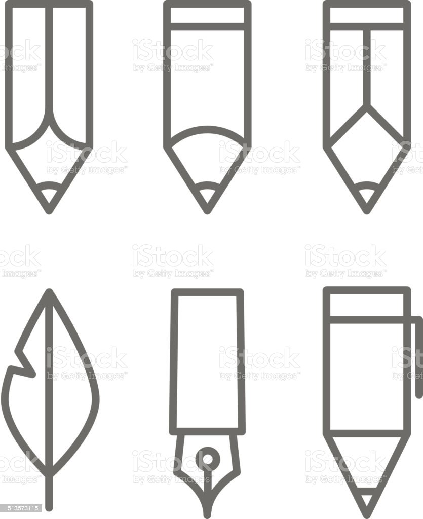 Paint and writing tools collection vector art illustration