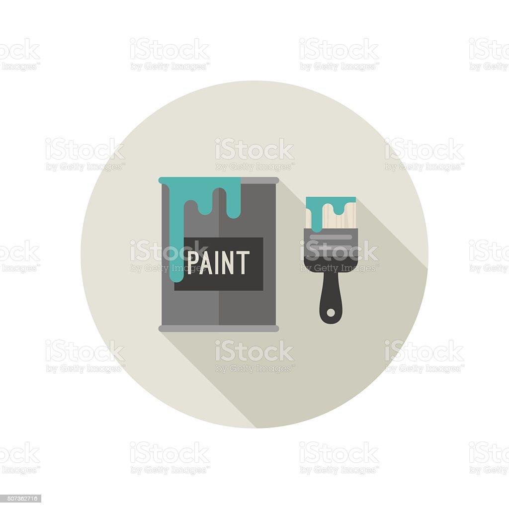 Paint brush and paint bucket. vector art illustration