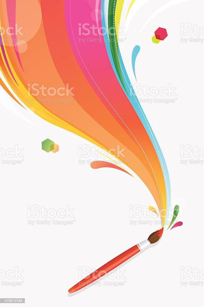 Paint brush colouring rainbow vector art illustration