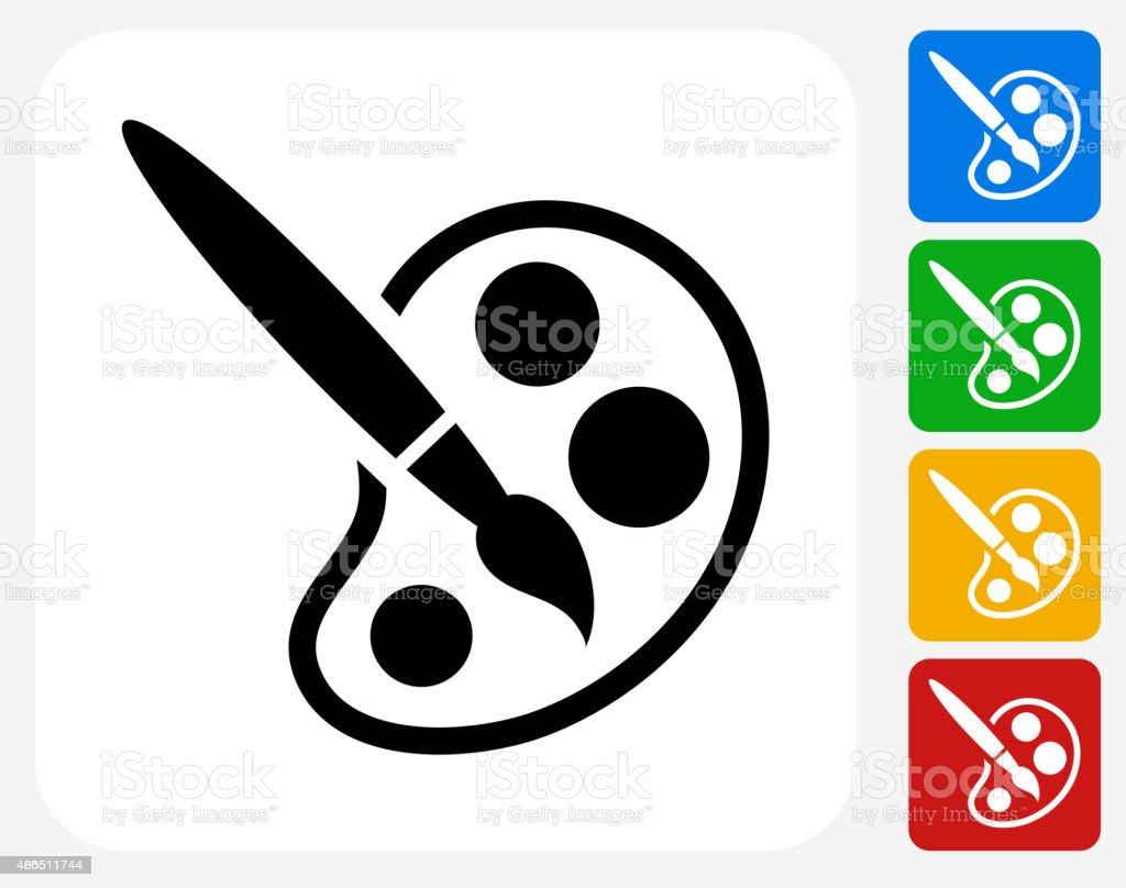 Paint Brush Icon Flat Graphic Design vector art illustration