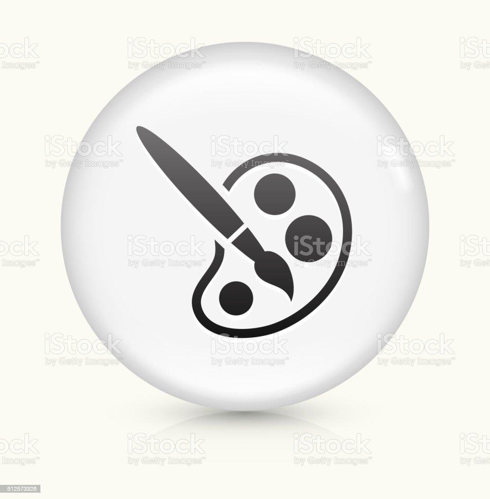 Paint Brush icon on white round vector button vector art illustration