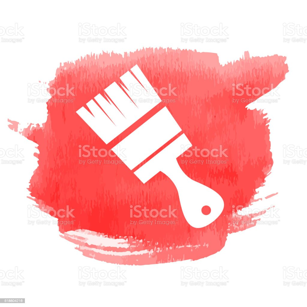 Paint brush icon with watercolor background vector art illustration