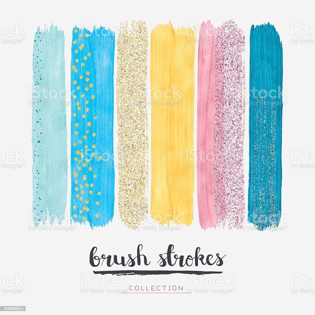 Paint brush strokes glitter vector art illustration