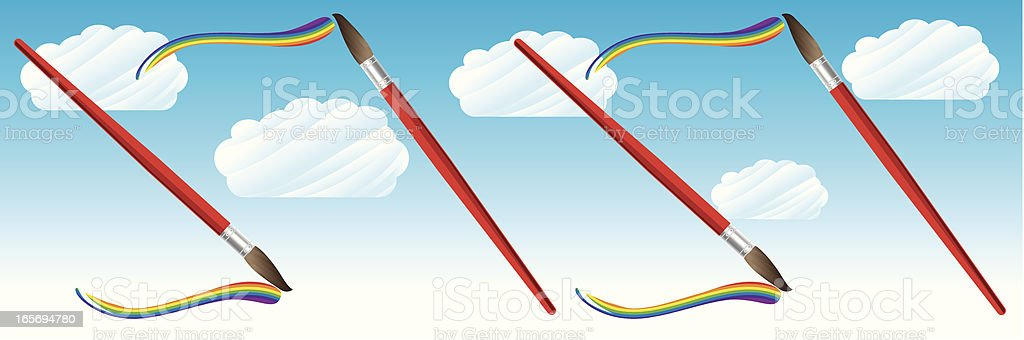 Paint brushes painting rainbows in the sky royalty-free stock vector art