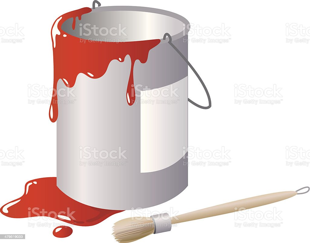 Paint bucket and brush royalty-free stock vector art