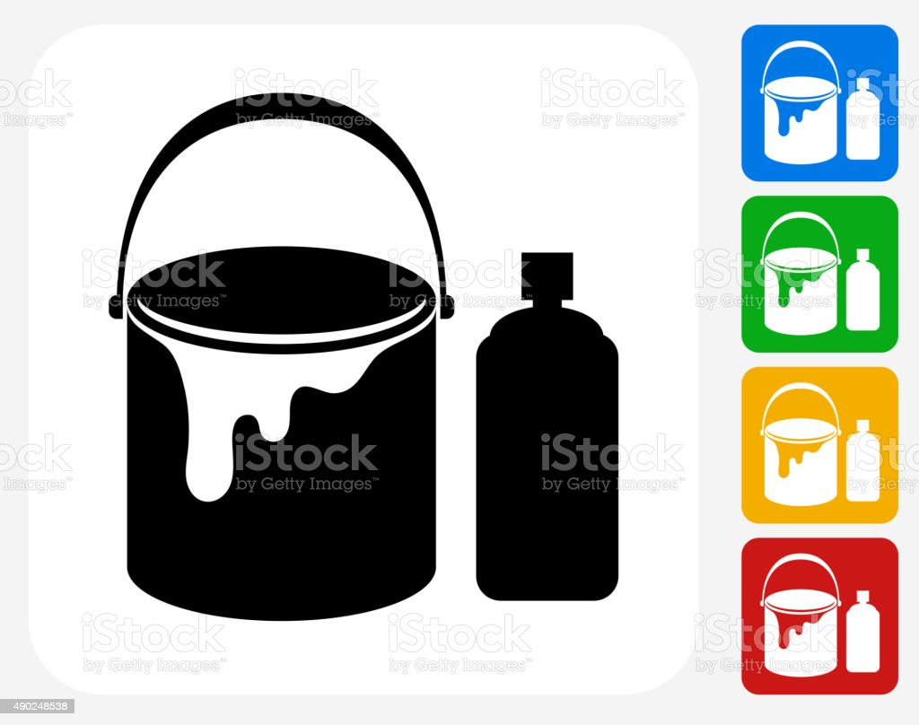 Paint Bucket and Spray Can Icon Flat Graphic Design vector art illustration