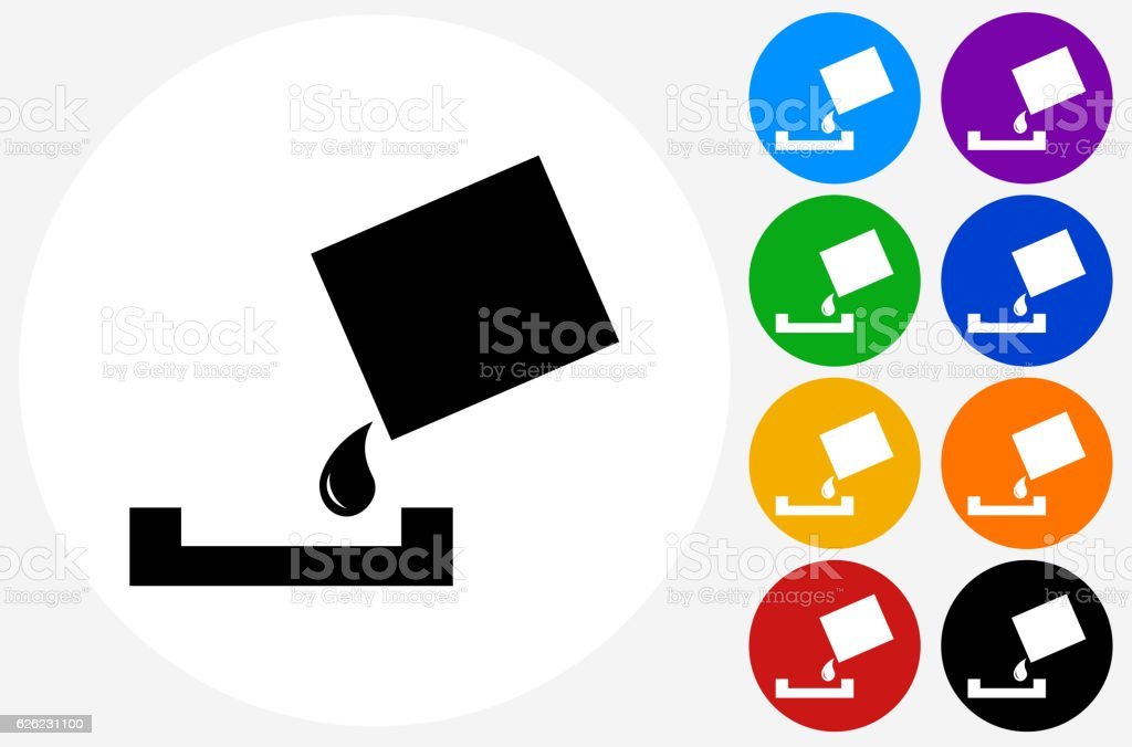 Paint Bucket  Paint Roller Icon on Flat Color Circle Buttons vector art illustration