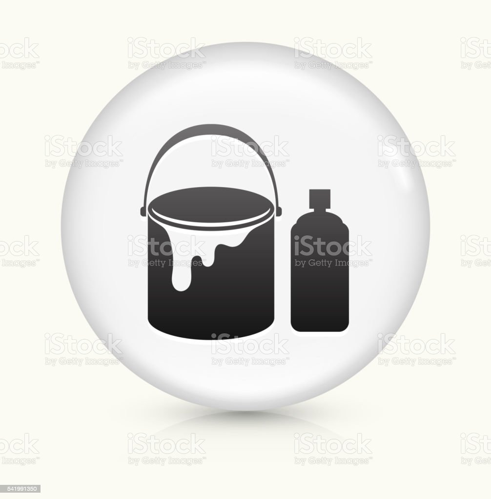 Paint Bucket Spray Can icon on white round vector button vector art illustration