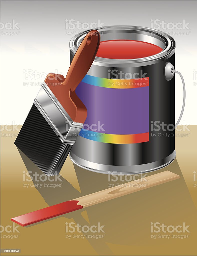 Paint Can Open Red vector art illustration