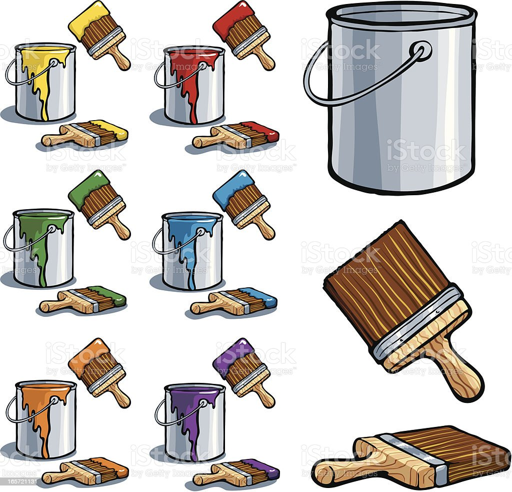 Paint Cans and Brushes vector art illustration