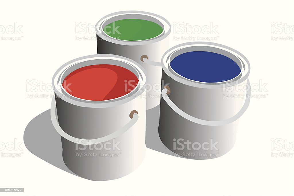 RGB paint cans vector art illustration