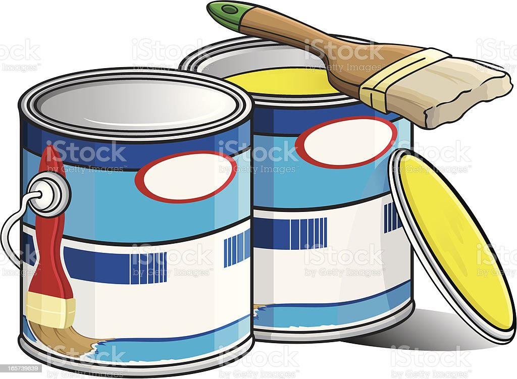 Paint cans with paintbrush vector art illustration
