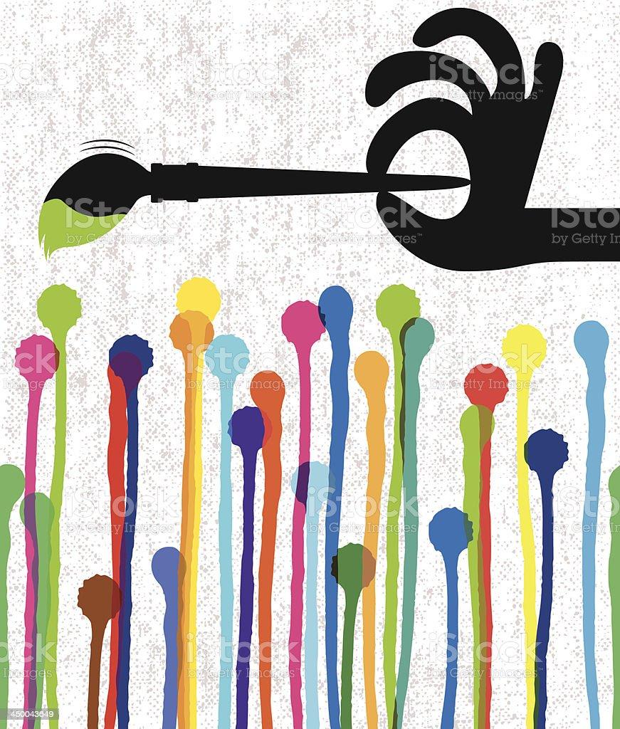 Paint drops on canvas vector art illustration