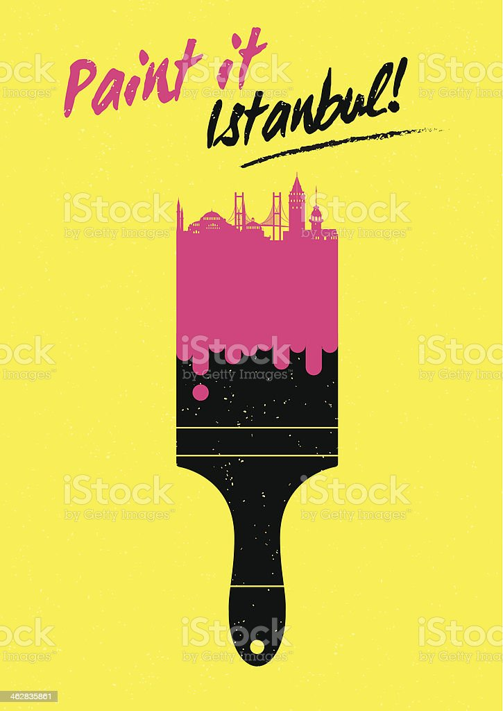 Paint It Istanbul City Poster Design royalty-free stock vector art