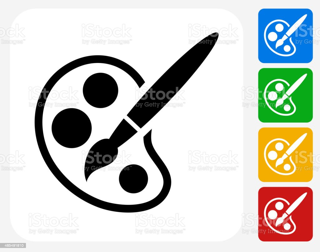 Paint Palette and Brush Icon Flat Graphic Design vector art illustration