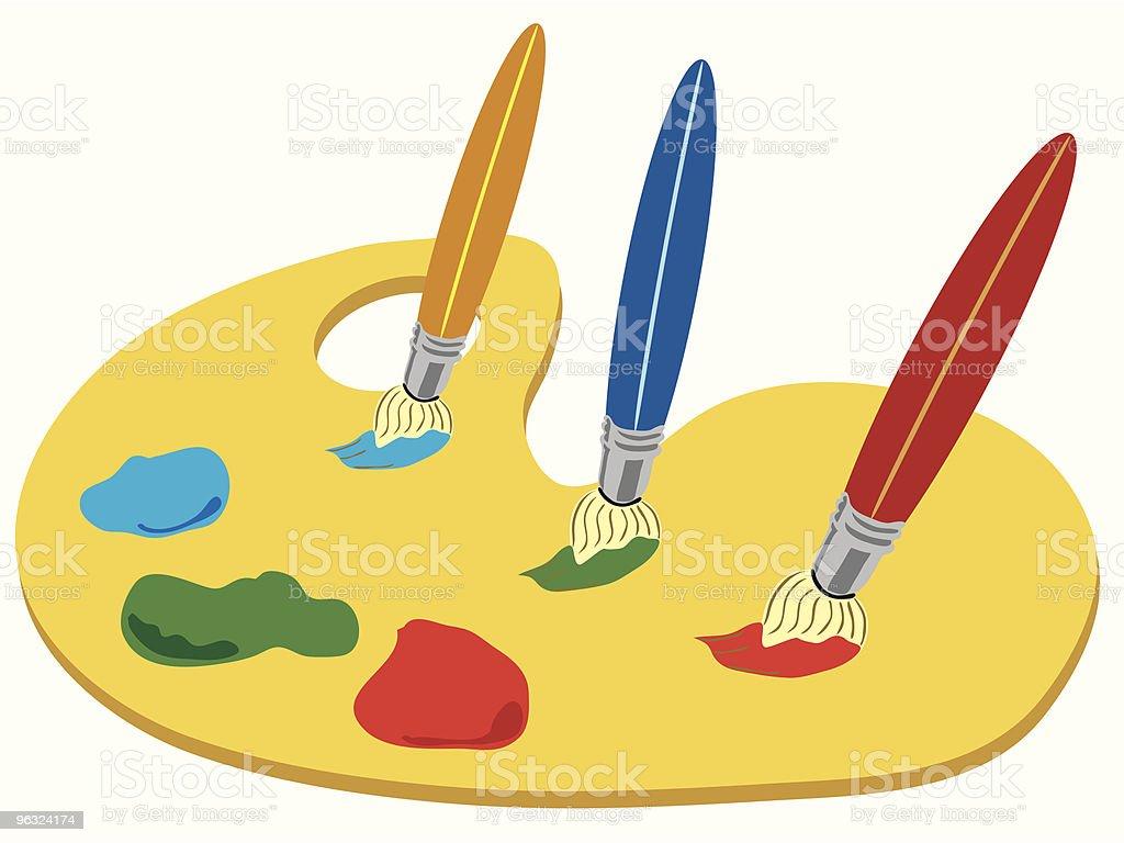 paint palette and brushes vector art illustration