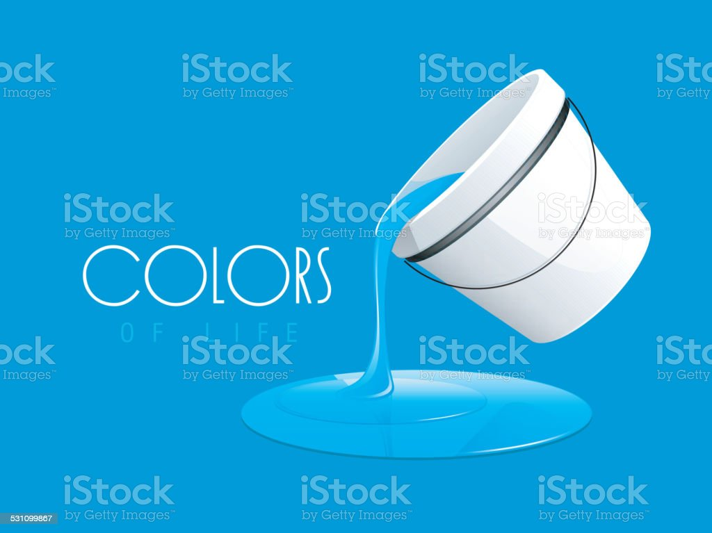 Paint pouring out from bucket. vector art illustration