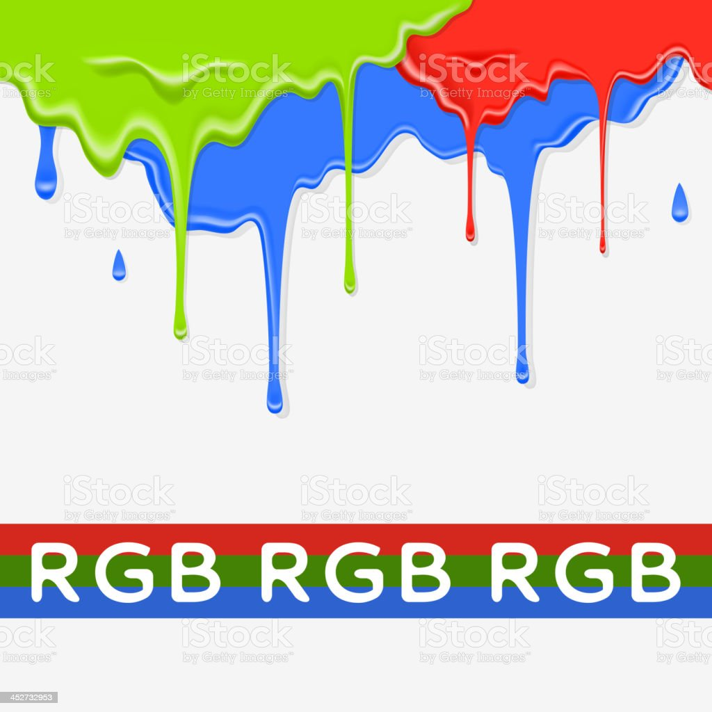 Paint red, green and blue dripping background in three color royalty-free stock vector art