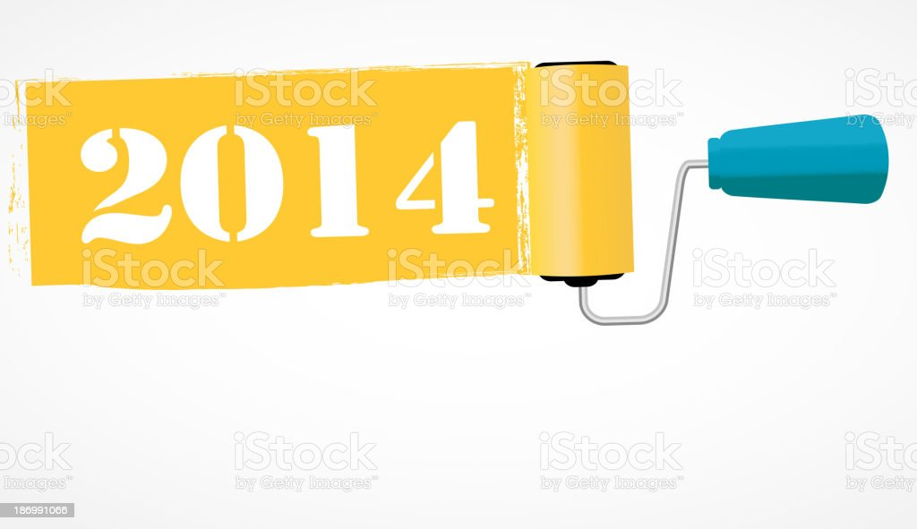 Paint roll 2014 new year background vector illustration royalty-free stock vector art