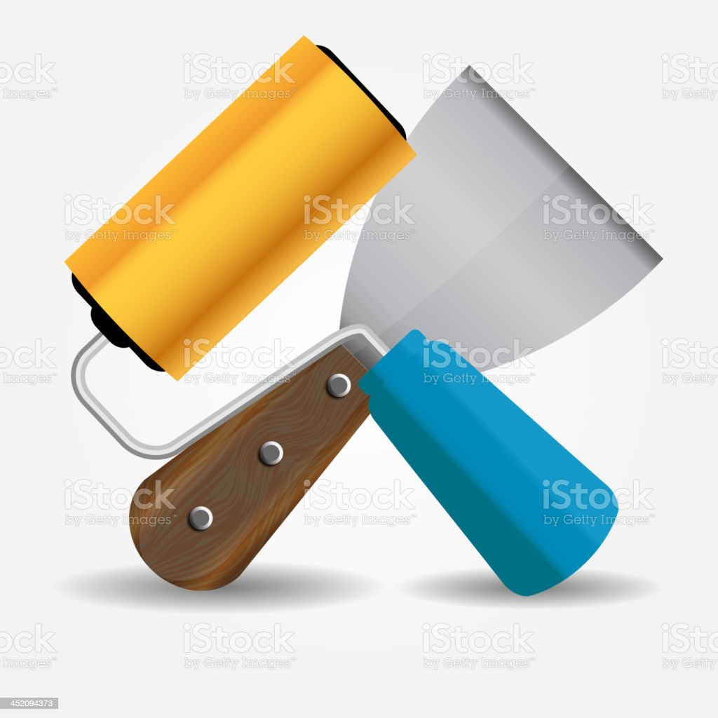 Paint roll and spatula icon vector illustration royalty-free stock vector art