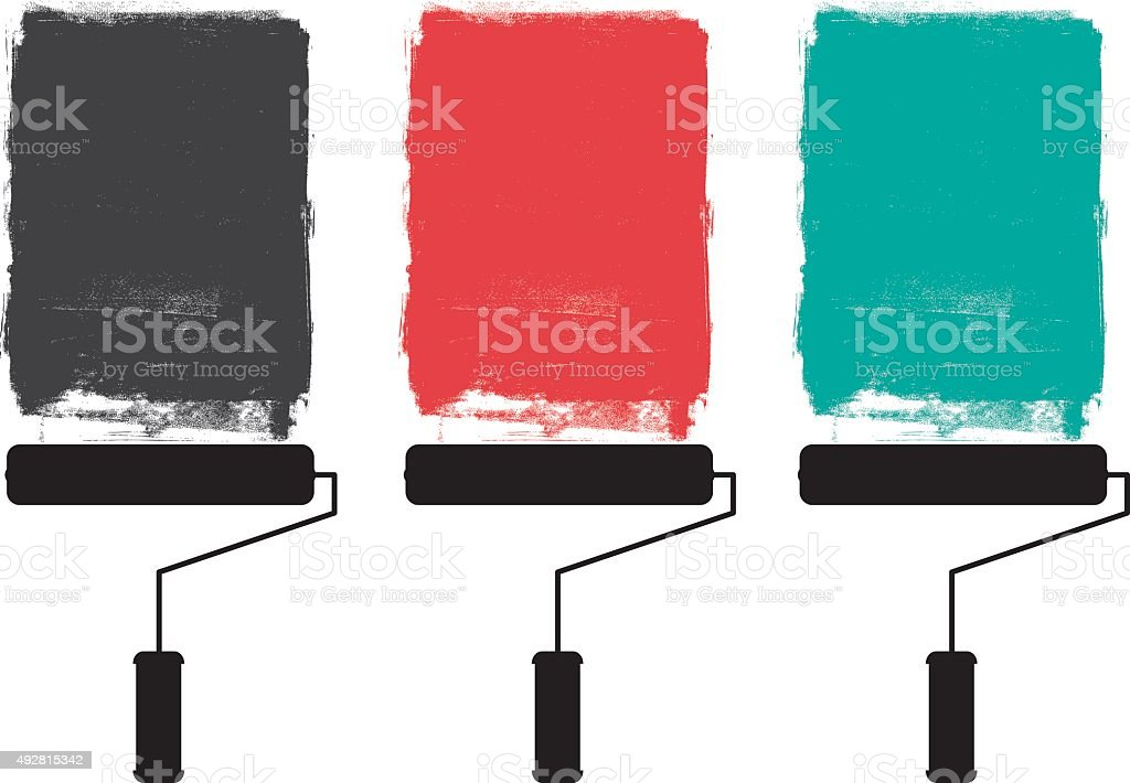 Paint roller and grunge paints vector art illustration