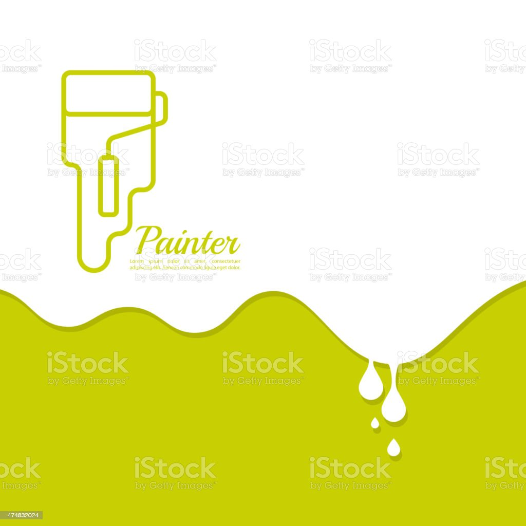 Paint roller with a strip of paint and drops vector art illustration